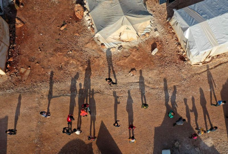 Displaced Syrians are in a camp in Idlib province.