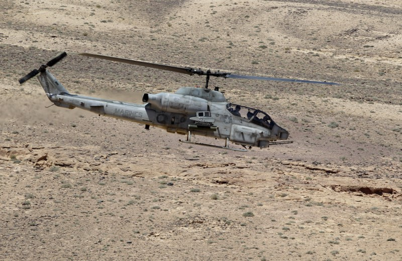 A U.S. Cobra helicopter participates in a military exercise.