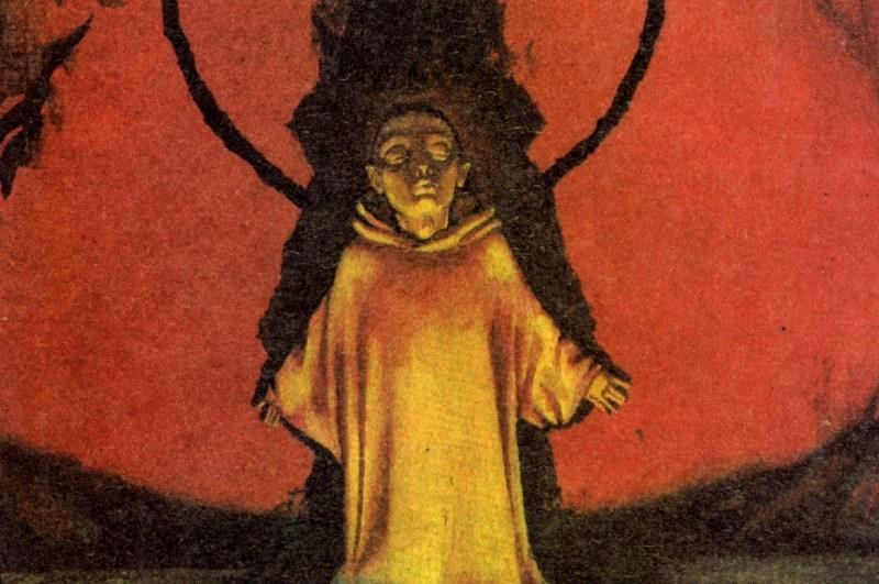 Frodo stands before the Cracks of Doom in Sergei Iukhimov's cover illustration for Volume I of Vlastelin Kolec, Natalya Grigor'eva and Vladimir Grushetskij's two-volume 1993 translation of J.R.R. Tolkien's The Lord of the Rings.