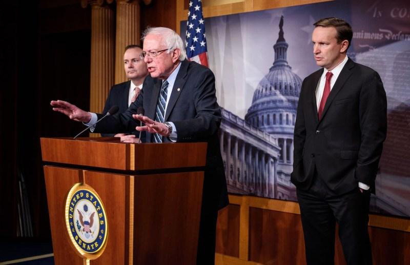 Sens. Bernie Sanders, Mike Lee, and Chris Murphy speak on war powers legislation on Capitol Hill.