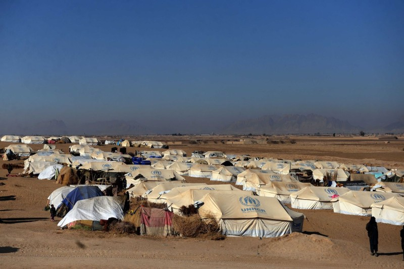 Tents at a camp for internally displaced families are pictured in Dand district, Afghanistan, on Jan. 7.