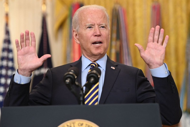 U.S. President Joe Biden speaks about the situation in Afghanistan from the East Room of the White House in Washington on July 8.