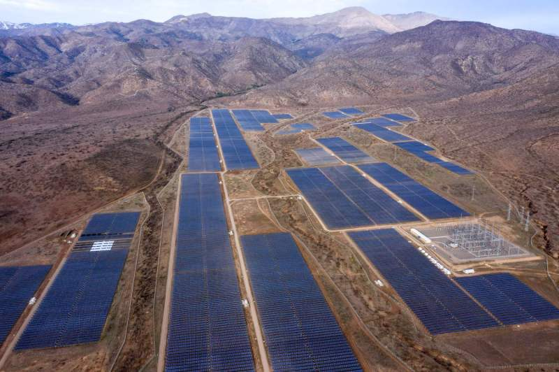 An aerial view of the Quilapilún photovoltaic plant in Colina, Chile, on Aug. 20, 2019.