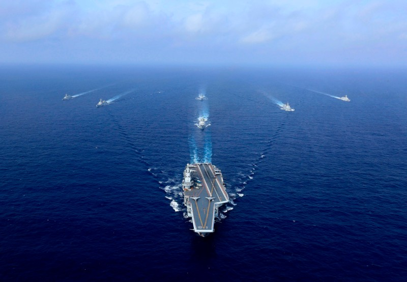 A Chinese aircraft carrier sails.