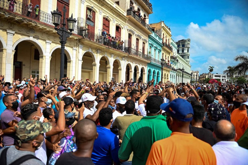 People take part in a demonstration against the government of Cuban President Miguel Díaz-Canel in Havana on July 11.