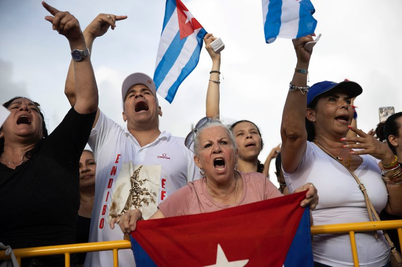 Protesters gather in Miami's Little Havana neighborhood to show their support for Cuba's protesters.