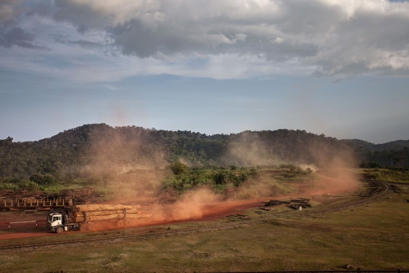 Logging trucks carrying Okoume wood leave the Ivindo National Park near Makokou, Gabon.