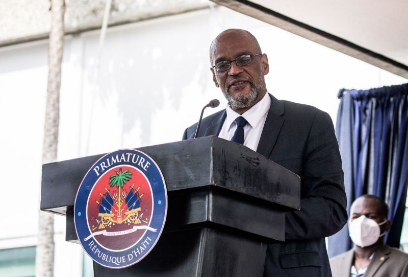 Haitian Prime Minister Ariel Henry speaks during a ceremony in Port-au-Prince, Haiti, on July 20.