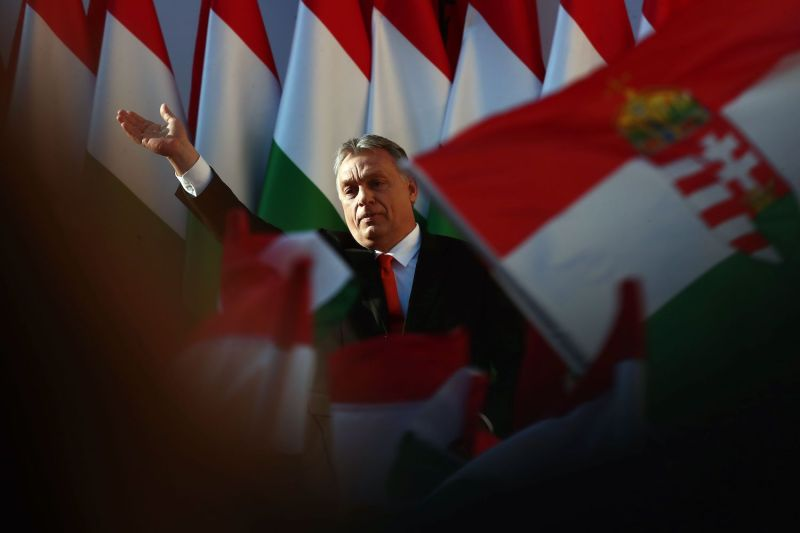 Viktor Orban delivers a campaign speech.