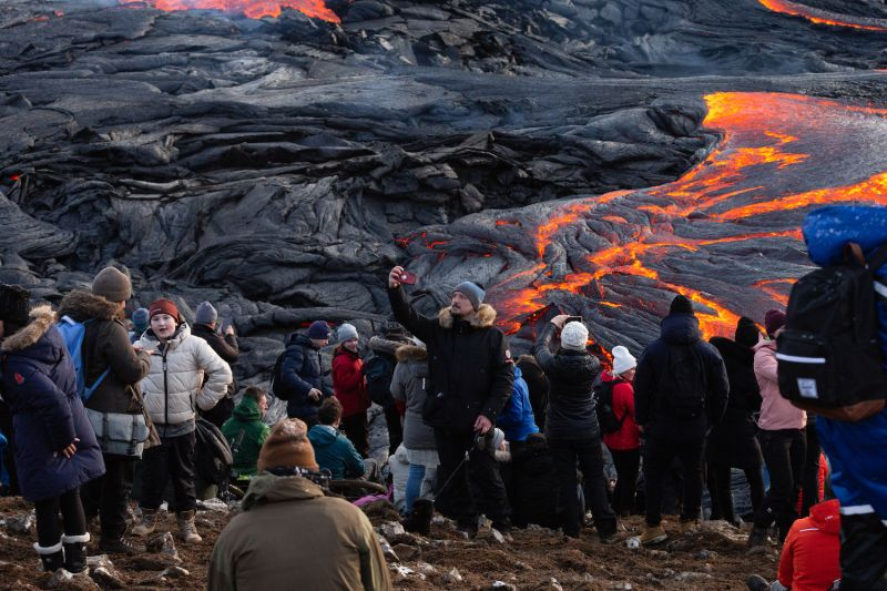 A man takes a selfie in Iceland.