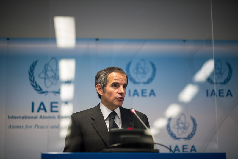 Rafael Grossi, the director general of the International Atomic Energy Agency, speaks to the media about the agency's monitoring of the Iranian nuclear program in Vienna on May 24.