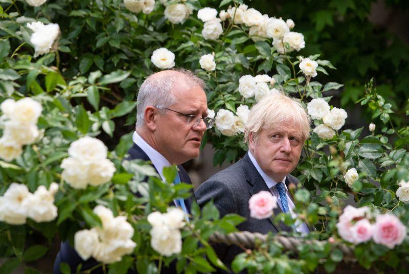 Britain's Johnson and Australia's Morrison in London
