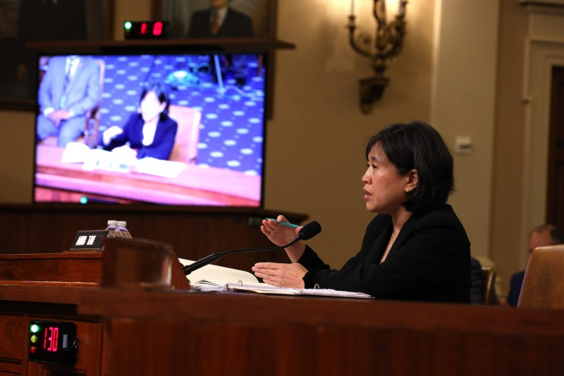 U.S. Trade Representative Katherine Tai speaks during a hearing with the House Ways and Means Committee at the U.S. Capitol in Washington on May 13.