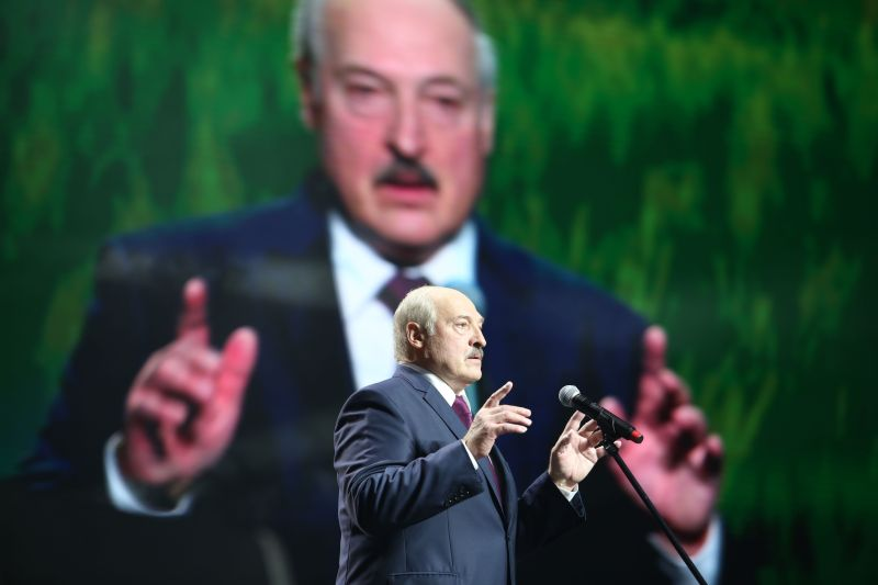 Belarusian leader Aleksandr Lukashenko speaks at a conference of the Union of Women in Minsk on Sept. 17, 2020.