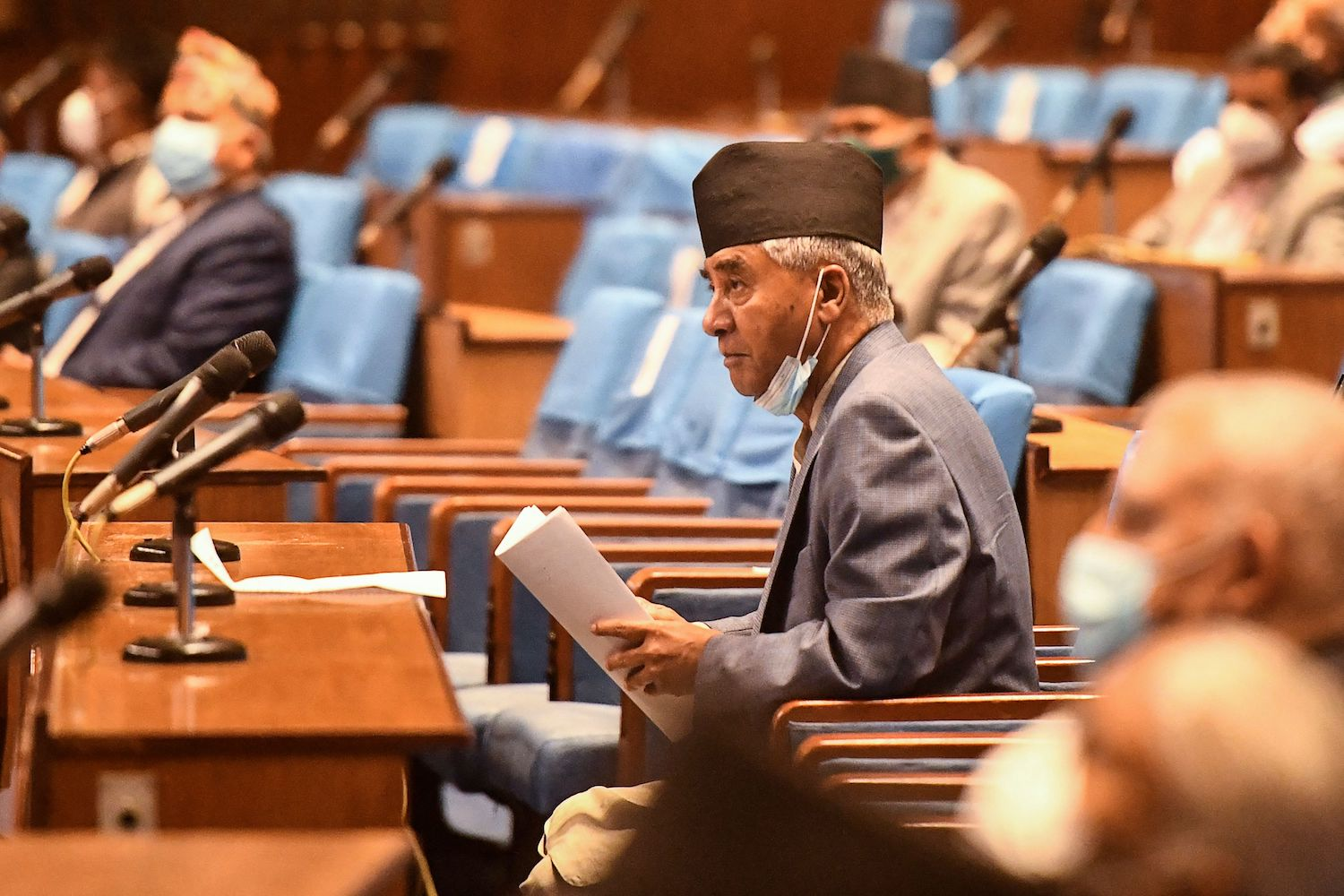 Nepali Prime Minister Sher Bahadur Deuba arrives to address parliament asking for a vote of confidence in Kathmandu, Nepal, on July 18.