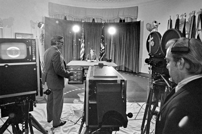 The television studio at the White House minutes before U.S. President Richard Nixon's Aug. 15, 1971, address.