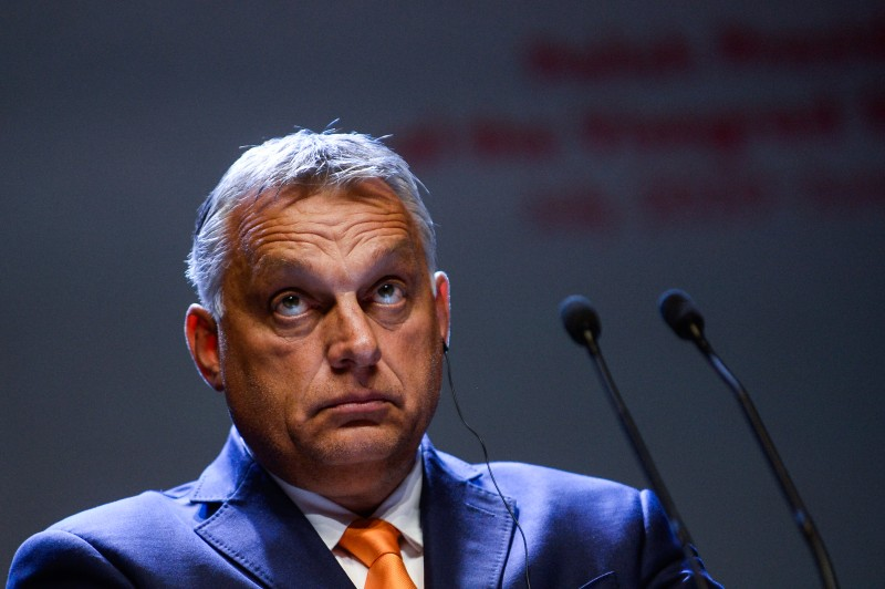 Hungarian Prime Minister Viktor Orban takes part in a press conference at the Visegrad Summit in Lublin, Poland, on Sept. 11, 2020.
