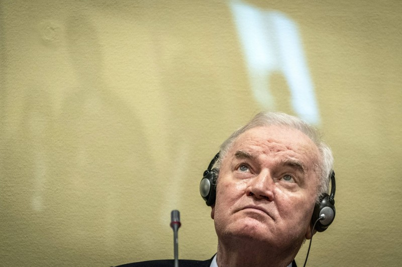 Former Bosnian Serb military chief Ratko Mladic awaits the final verdict on the appeal against his genocide conviction over the 1995 Srebrenica massacre at a tribunal in The Hague, Netherlands, on June 8.