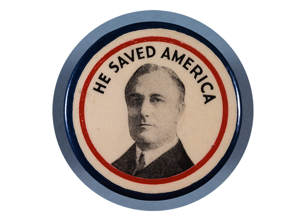 A Roosevelt campaign button from the 1936 presidential election.