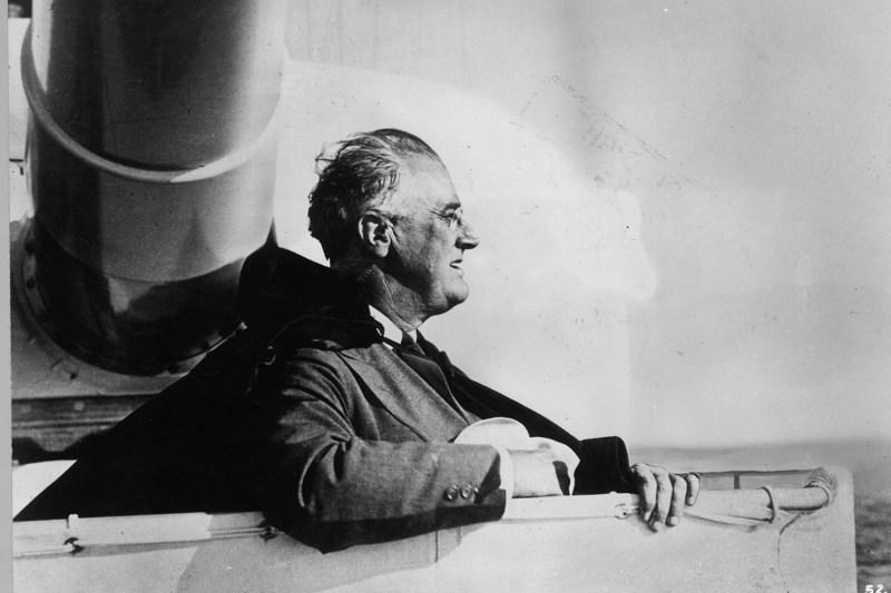 U.S. President Franklin D. Roosevelt on board an American warship circa 1935.