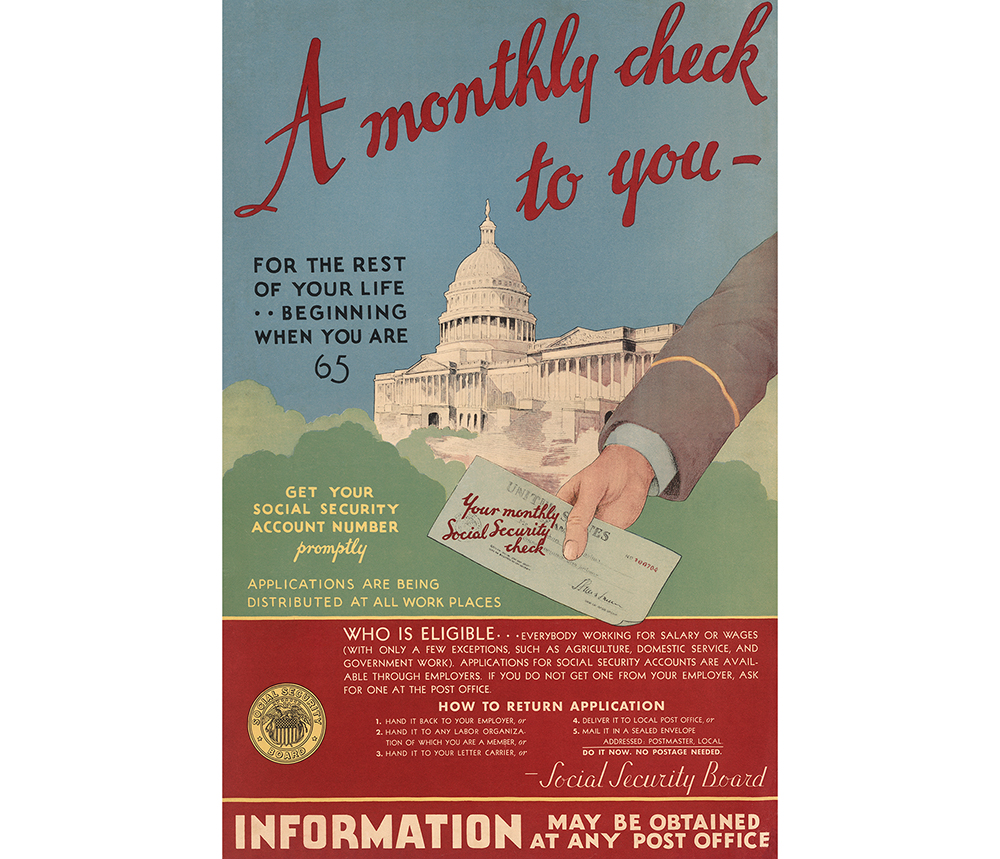 A poster introduces the U.S. Social Security program, a pillar of Roosevelt's New Deal domestic agenda, in 1935.
