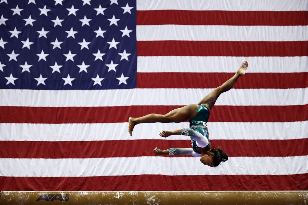 Simone Biles competes on the balance beam during the 2019 U.S. Gymnastics Championships in Kansas City, Missouri, on August 09, 2019.