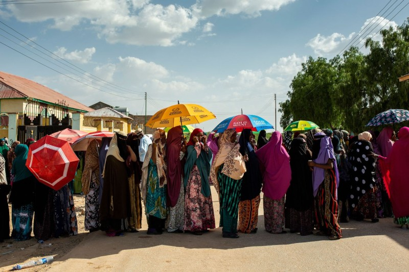 Women queue to vote at a polling station in Gabiley, Somaliland, on May 31.