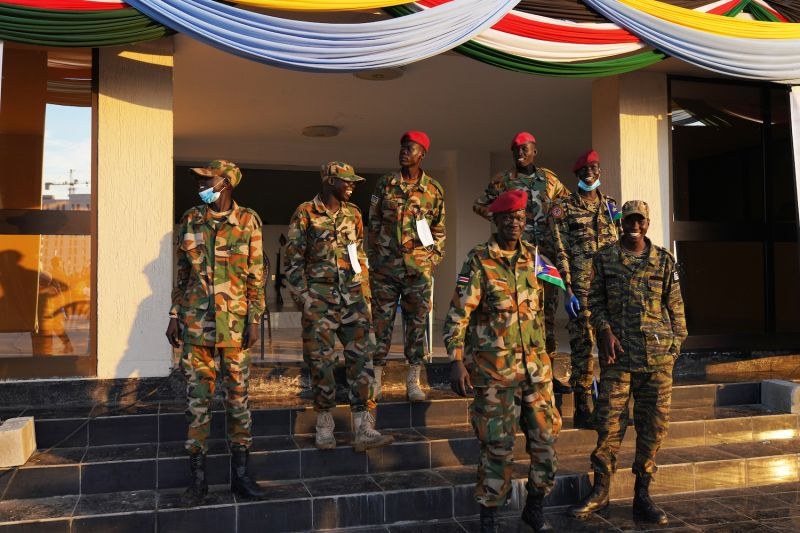 Soldiers in the South Sudan People's Defence Forces guard the John Garang Mausoleum during the country's 10th anniversary independence celebrations in Juba on July 9.