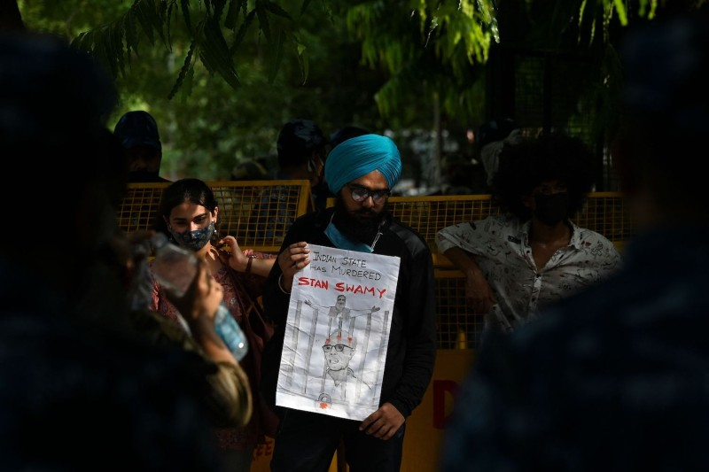 Students protest death of Stan Swamy in India.