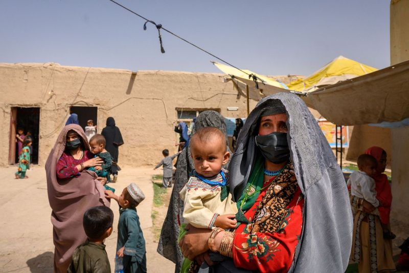 A woman waits to see a doctor in Afghanistan.