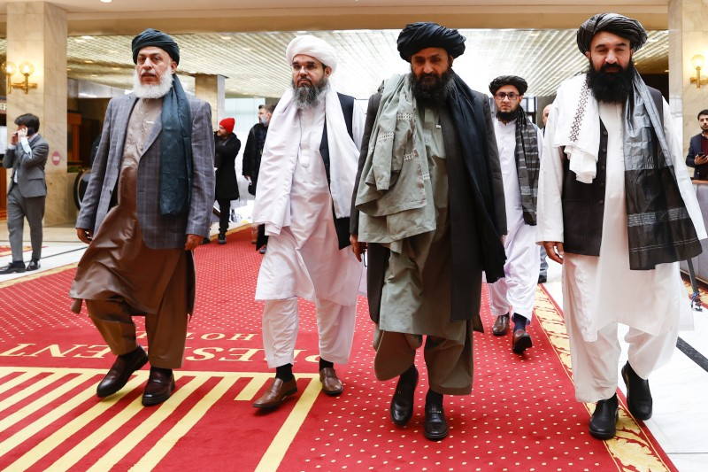 The Taliban delegation leaves the hotel after meeting with representatives of Russia, China, the United States, Pakistan, Afghanistan, and Qatar in Moscow on March 19.