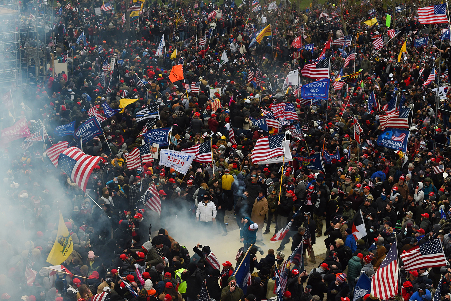 Supporters of U.S. President Donald Trump clash with police and security forces as they storm the U.S. Capitol in Washington on Jan. 6.