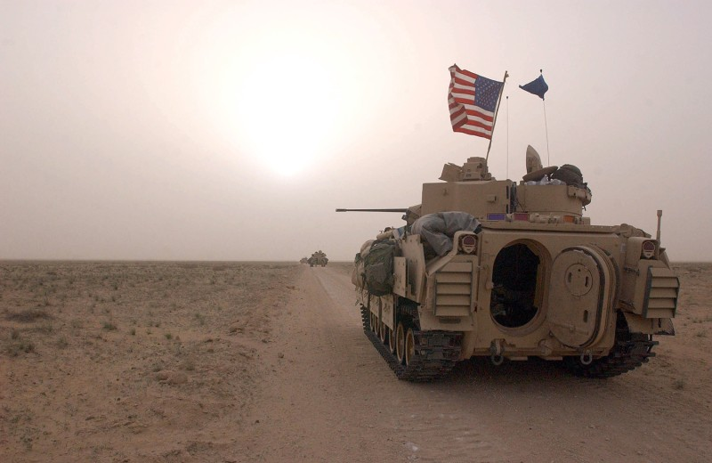 U.S. Army 3rd Division Bradley fighting vehicles take up their position.