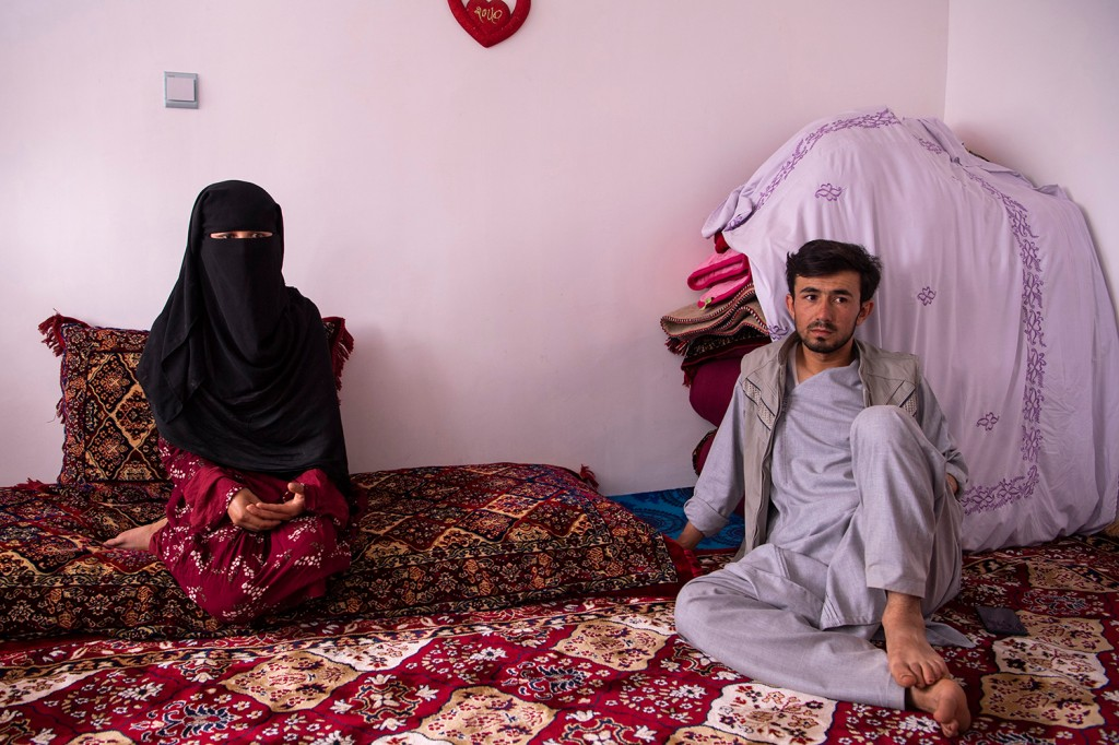 An Afghan woman and her cousin are interviewed in Bamiyan province