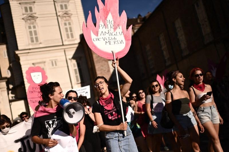 Members of the Non Una Di Meno feminist group stage a protest.