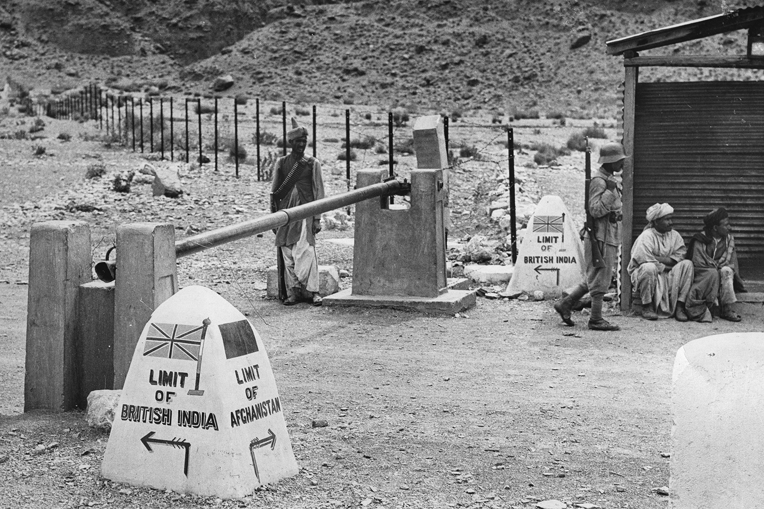 The frontier in the Khyber Pass between British India and Afghanistan