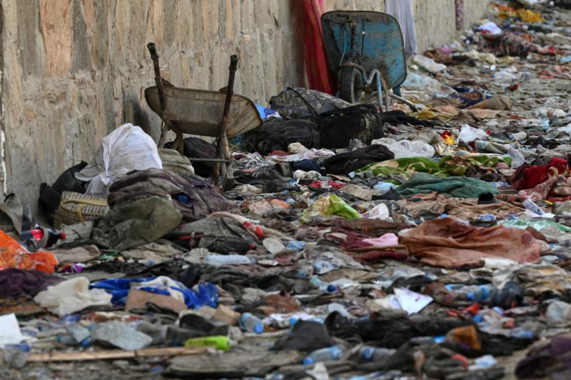 Backpacks and belongings of Afghan people post-Kabul airport bombing