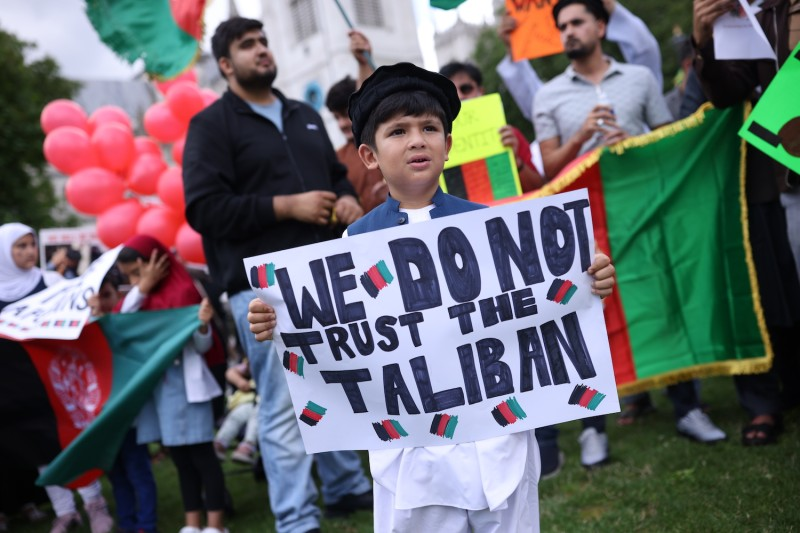 A protest against the Taliban takeover of Afghanistan in London.