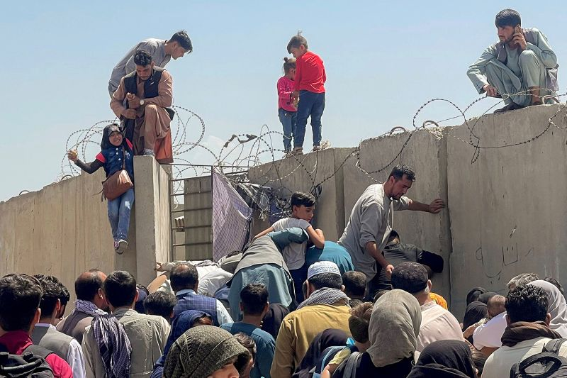Chaos at Kabul airport in Afghanistan