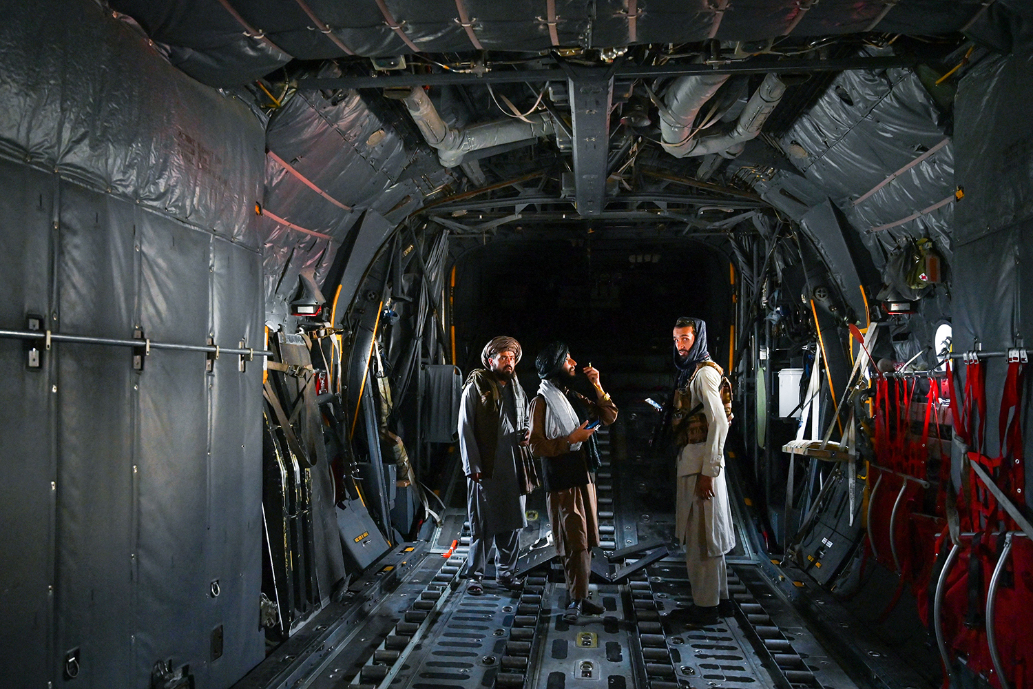 Taliban fighters in aircraft in Kabul