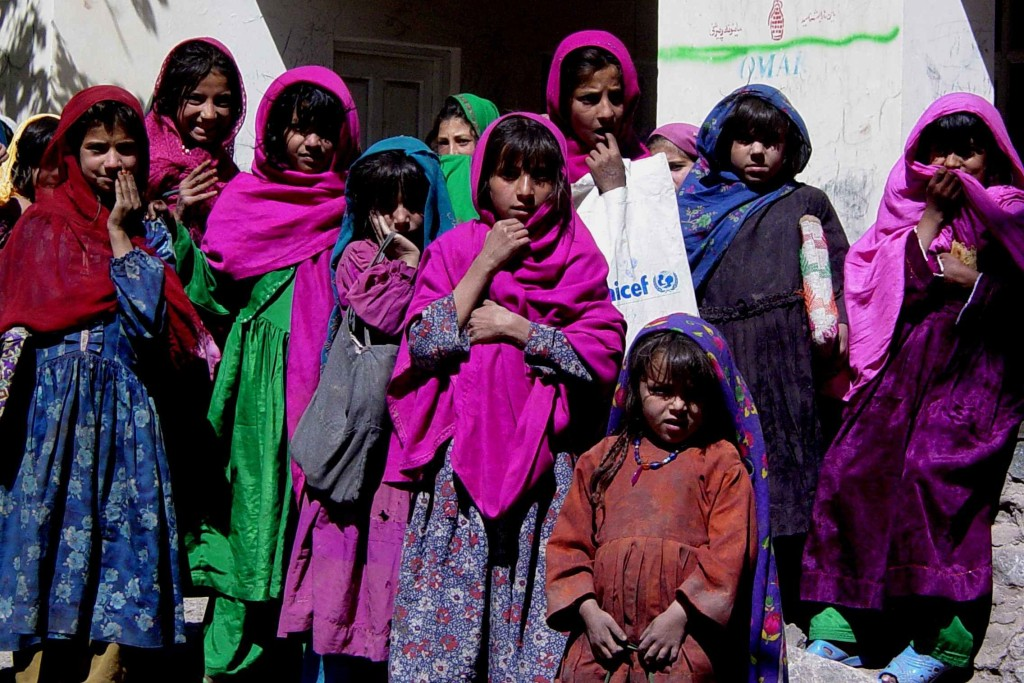 A group of orphaned Afghan girls