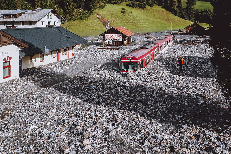 Train stuck in muck in Austria