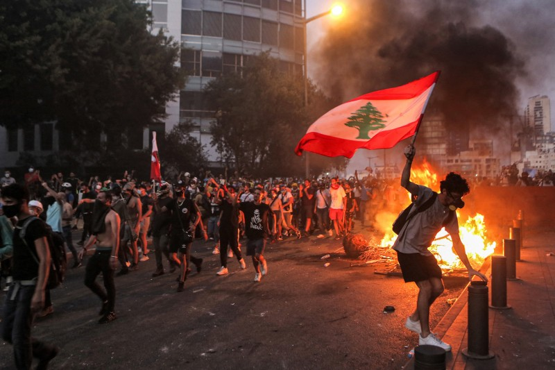 A protester on the anniversary of the Beirut blast.