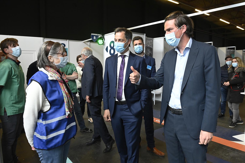 Belgian Prime Minister Alexander De Croo and Ghent Mayor Mathias De Clercq,