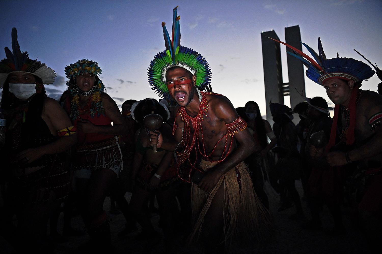 Indigenous men protest in Brazil
