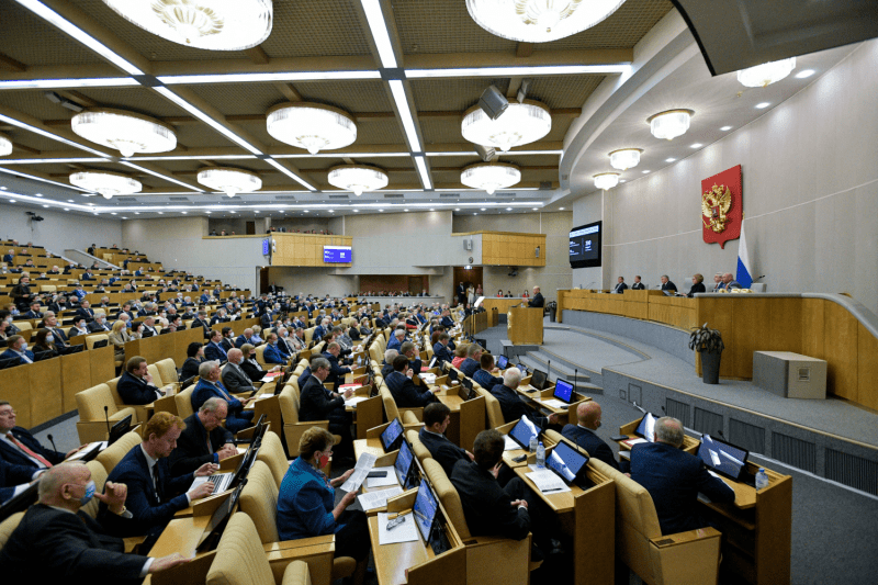 Russia's prime minister speaks to the State Duma.