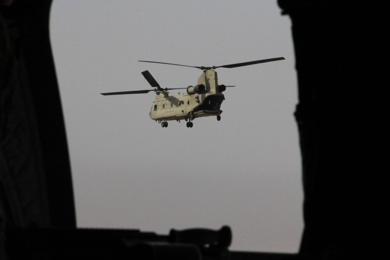 A U.S. Chinook military helicopter in Afghanistan