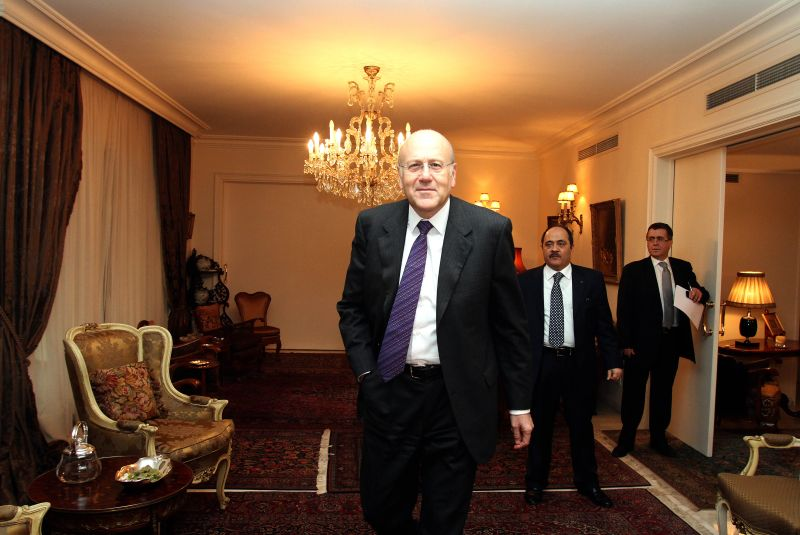 Najib Mikati is seen at his residence in Beirut.
