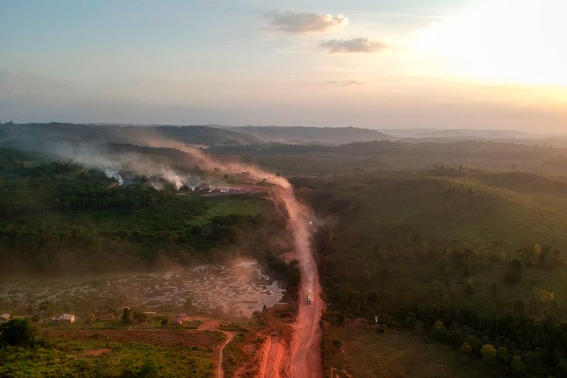 Fires at sunset in the agriculture town of Ruropolis, in northern Brazil, on Sept. 6, 2019.