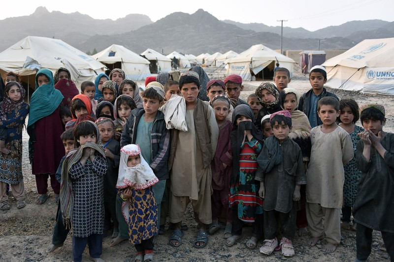 Afghan children at an IDP camp